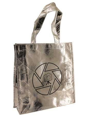 bolsa de tela plastificada + plata brillo