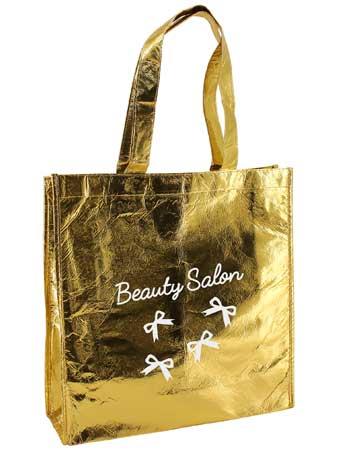 bolsa de tela plastificada + oro