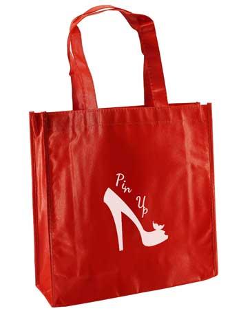 bolsa de tela plastificada +roja