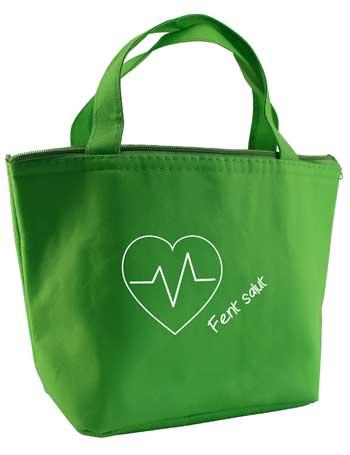 bolsa de tela termica + verde pistacho