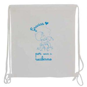 bolsa de tela + mochila saco blanca
