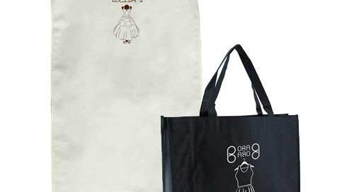 set bolsas tela + tst lazo mediana verde y portatrajes beige