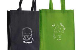 set bolsas + plegables verde y azul con impresiones